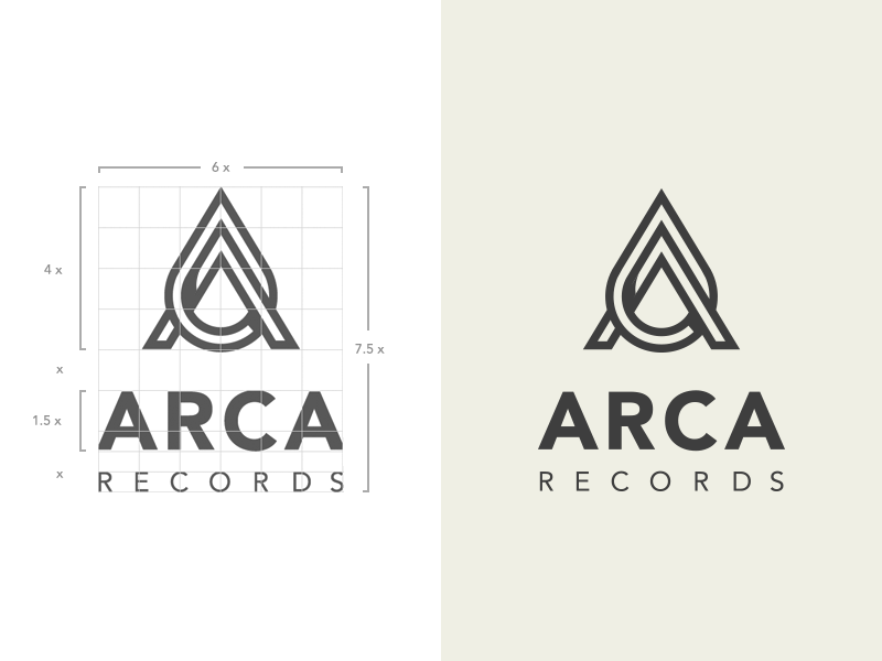 Arca Records logo vector monogram branding letter music label twisted construction grid brand