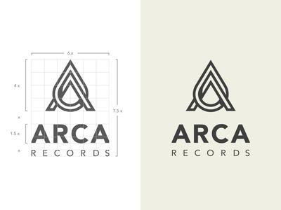 Arca Records logo vector monogram branding letter music label twisted construction grid brand