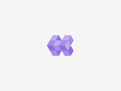 Folded H vector folded geometrical hexagon logo branding mark h letter symmetrical cubical cube