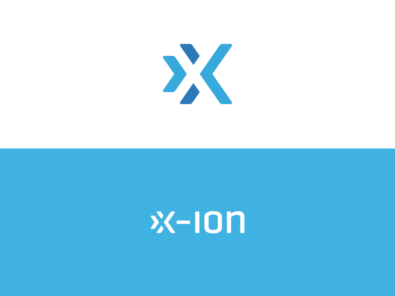 x-ion simple logo branding mark grid vector letter negative space x