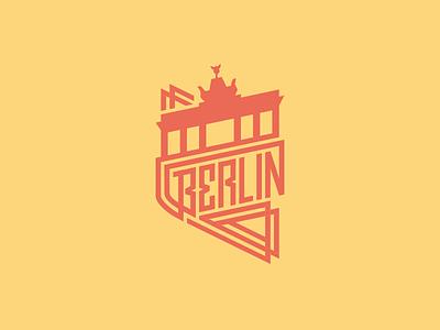 Berlin Badge berlin city badge logo illustration custom type lettering handlettering symbol brandenburger tor stamp