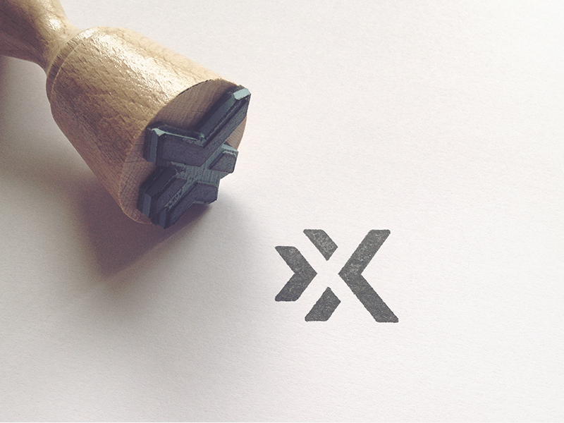 x-ion stamp mark space negative x identity stationary grid branding vector print logo stamp