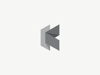 Folded K letter origami nuances grey shadow folded branding vector mark typography logo k