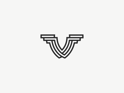 Twisted V twisted monogram logo vector symbol mark v branding