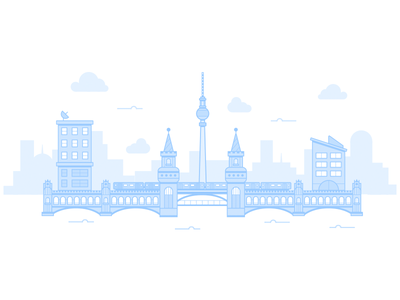 Oberbaum Bridge kreuzberg friedrichshain bridge oberbaum vector skyline city drawing illustration berlin