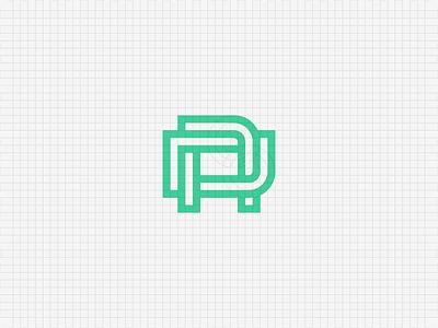 DA monogram initials identity twisted a d mark geometrical grid construction branding logo monogram