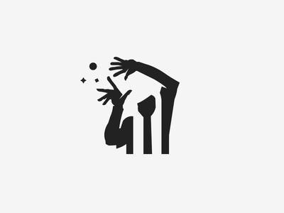 Sorcerer wizard white black illustration space negative logo magic sorcerer