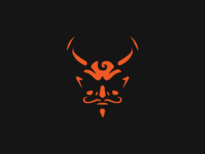 Satan devil branding space negative head icon mark logo satan