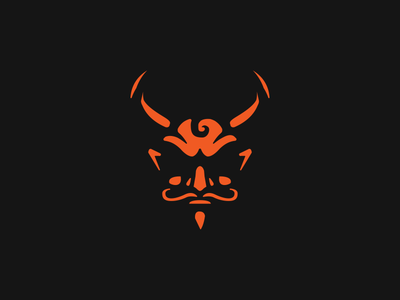 Satan devil branding space negative head icon mark logo satan