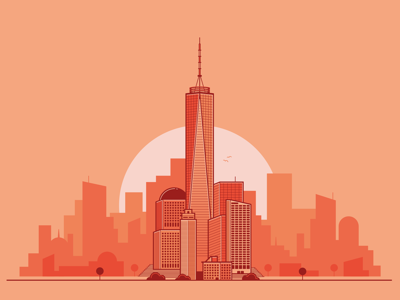 Nyc Sunrise one world trade center world trade center vector sunrise skyline flat illustration manhattan new york nyc