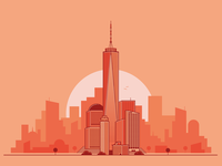 Nyc Sunrise wtc one world trade center world trade center vector sunrise skyline flat illustration manhattan new york nyc