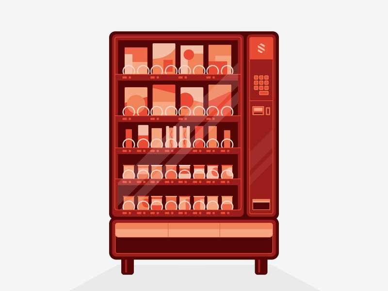 Vending Machine soda can simple flat illustration hot dogs chocolate bar soda chips lunch fast food vending machine