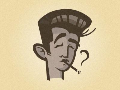 Elvis head cartoon retro vintage character elvis presley illustration vector cigarette comic dean james 60s