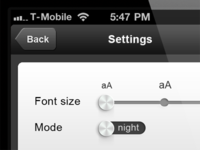 Font size selector and day/night mode switch