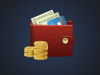 wallet icon money coins credit card