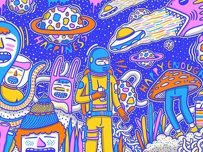 HAPPY ENOUGH art space design drawing doodle character doodling artwork illustration