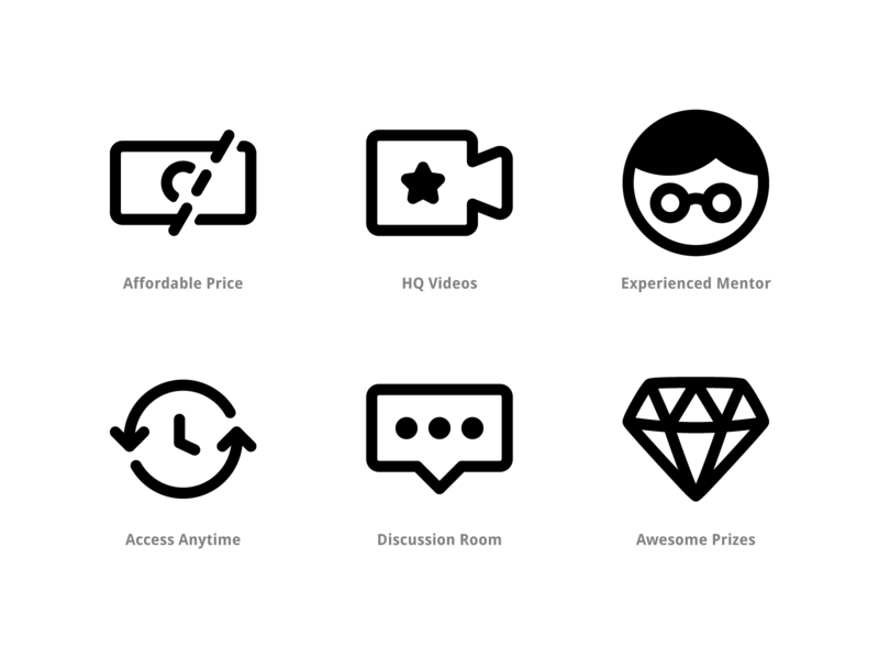 Icon Pack for E-Course Maghozi Website web button illustration ux ui iconography icon