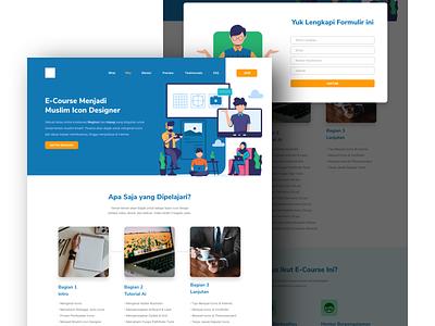 E Course Landing Page web landing page ui illustration