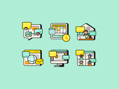 Work from Home Icons iconography illustration icon