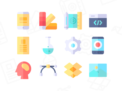 Creative Process Icons (Flat)