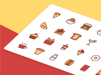 Food and drinks icons in filled line style 2x 02