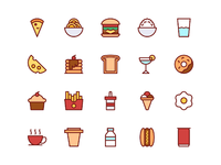 Food and drinks icons in filled line style 2xb
