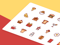 Food And Drink Icons In Filled Line Style