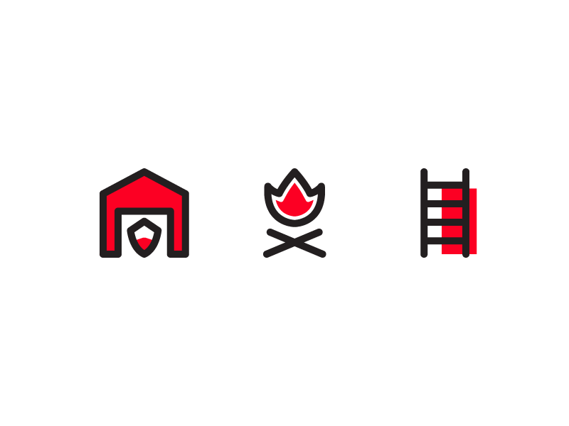 Firefighter Icons emergency app button iconset user interface ux ui line iconography icon firefighter