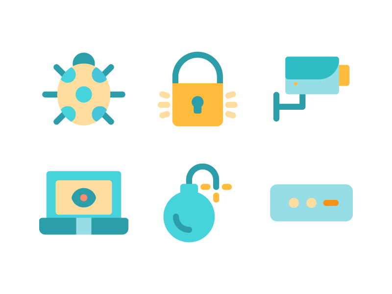 Security Icons In Flat Style icon iconography line ui ux user interface iconset button app security