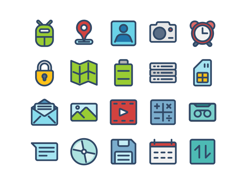 Android Icons (Filled Line) icon iconography solid ui ux user interface iconset button app system