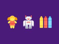 Toys Icons (Flat)