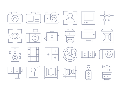Thin Line Camera Icons icon iconography solid gradient ui ux user interface iconset button app system