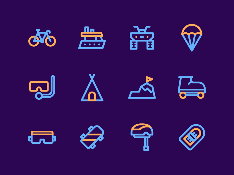 Adventure And Sport Icons adventure app button iconset user interface ux ui line iconography icon