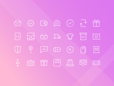 E-Commerce Icons With Thin Line homepage website web landing page ux ui icon set iconography icons icon