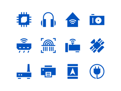 Internet Of Things Icons In Solid Style
