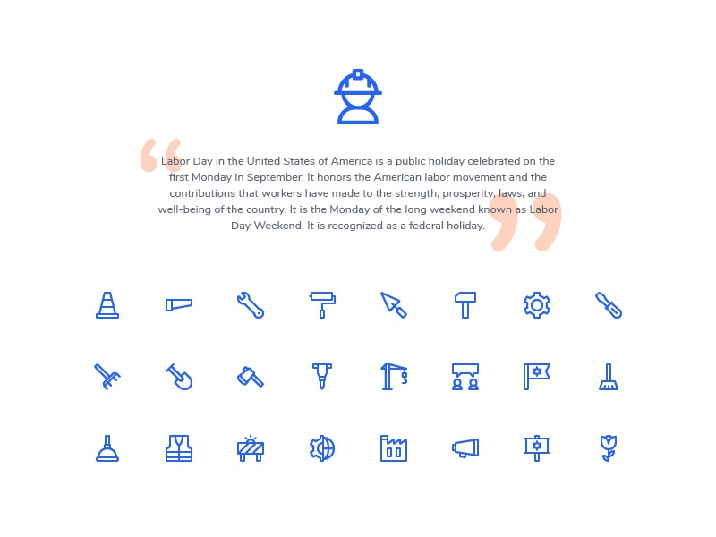 Labor Day Icons (Line) symbol sign action system ux ui button iconography icon set icons icon