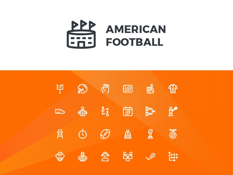 American Football Icons (Line) symbol sign action system ux ui button iconography icon set icons icon