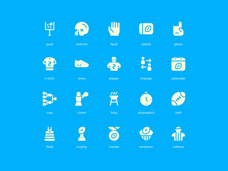 American Football Icons (Solid) symbol sign action system ux ui button iconography icon set icons icon