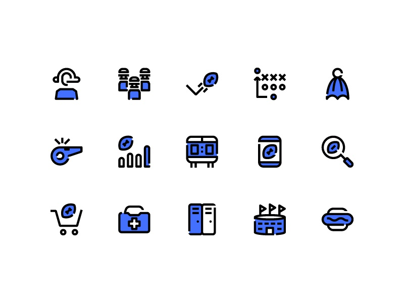 American Football Icons (Blue Field) symbol sign action system ux ui button iconography icon set icons icon
