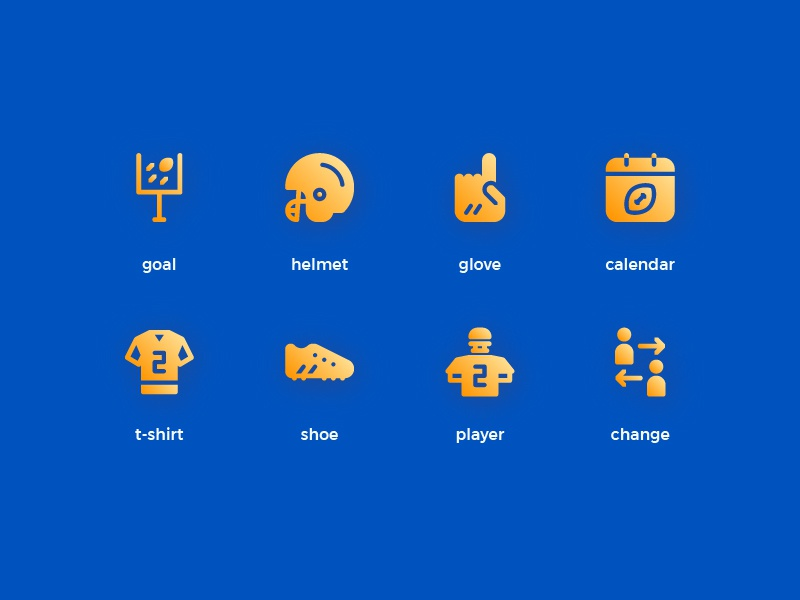 American Football Icons (Gradient) symbol sign action system ux ui button iconography icon set icons icon