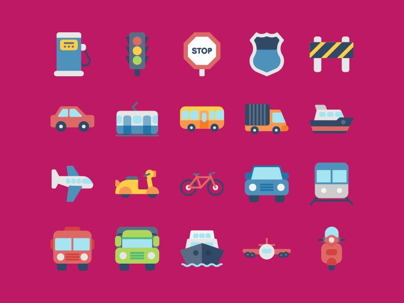 Transportation Icons in Flat web app symbol iconography ux ui button icon pack icon set icons icon