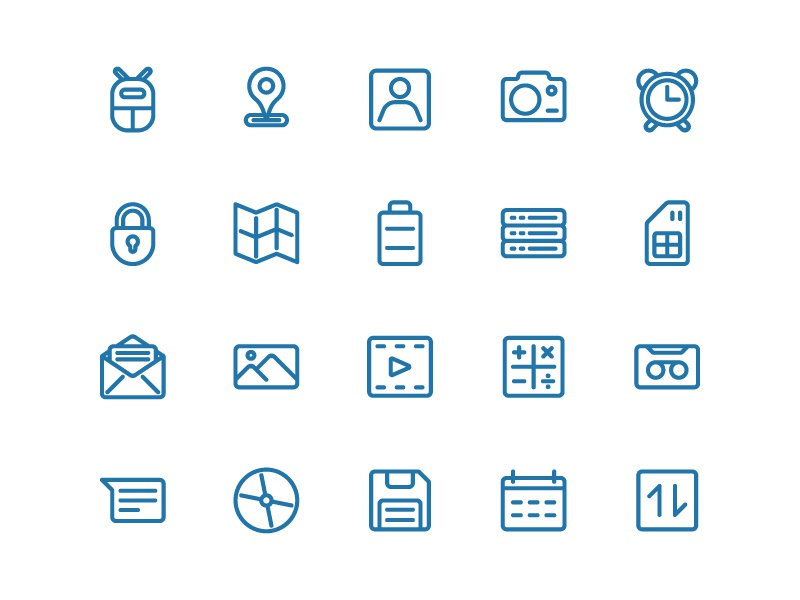 Android Icon Set In Line web app symbol iconography ux ui button icon pack icon set icons icon