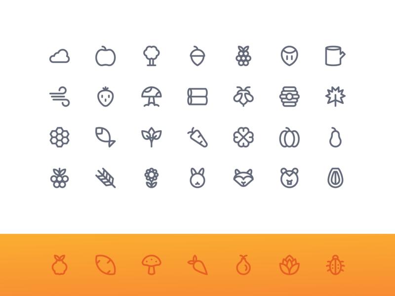 Autumn Nature (Super Basic) system icon button iconography iconset iconpack icon icons outline line basic super nature autumn