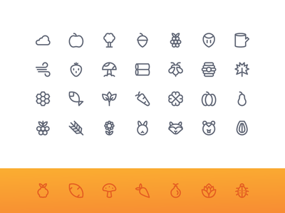 Autumn Nature (Super Basic) system icon button iconography iconset iconpack icon icons outline line basic super nature autumn
