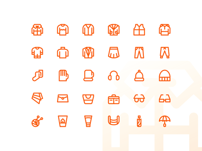 Autumn Clothes & Accessories Super Basic Icons iconography iconpack iconset icons icon outline line basic fall accessible accessory clothes autumn