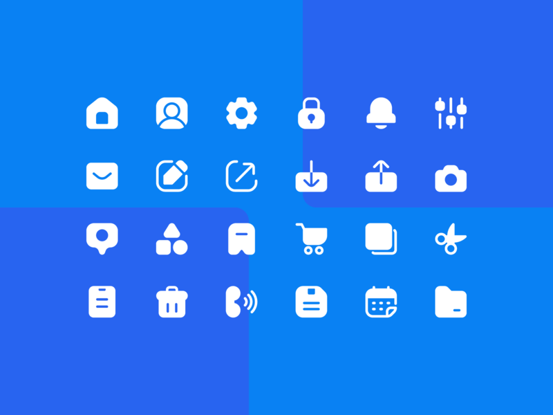 User Interface Super Basic Icons in Solid system icon iconpack iconset icons iconography ux glyph solid essential basic ui user interface