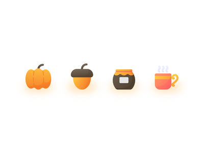 Autumn Flat Gradient Icons ux ui explainer illustration iconography iconset iconpack icons icon gradient flat fall autumn