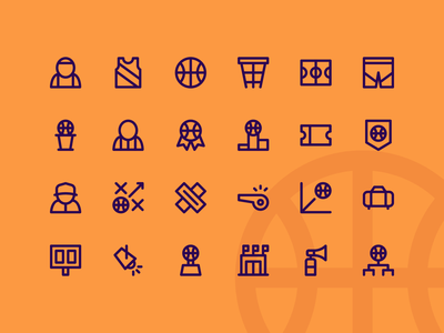 Basketball Super Basic Icons basketball interface ui icons icon icon set icon pack iconography system icon line iconset button ux