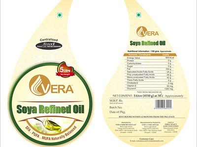 Refined oil 5 Litre Label Design branding typography illustration design