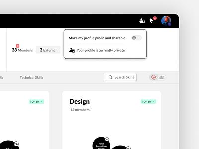 MuchSkills - Toggle your skills profile public or private muchskills cv toggle switch skill profile data visualization ux ui
